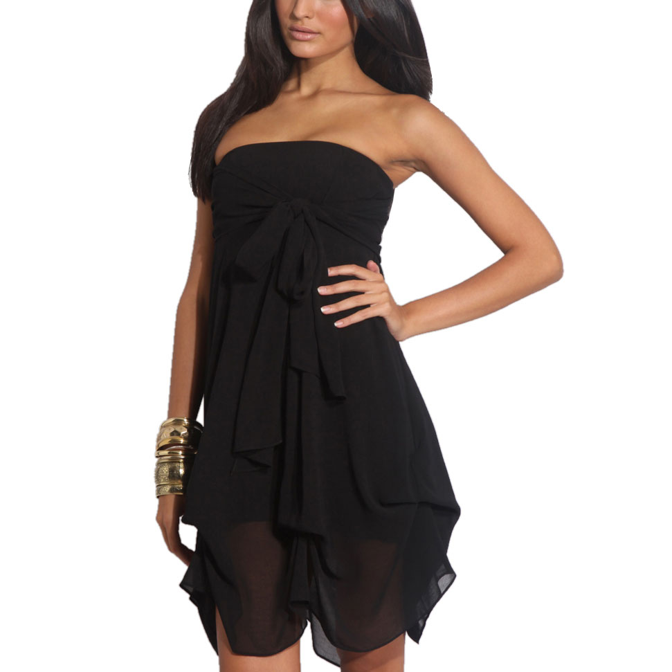 Hitched-Chiffon-Bubble-Hem-Convertible-Cocktail-Party-Dress-Black