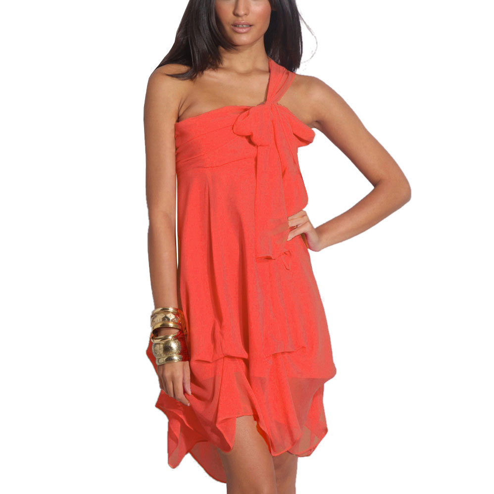 Hitched-Chiffon-Bubble-Hem-Convertible-Cocktail-Party-Dress-Coral-Red